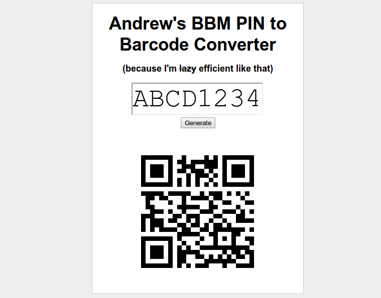 Blackberry BBM PIN to Barcode Converter